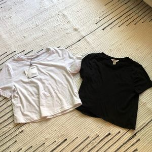 Black and white crop shirts